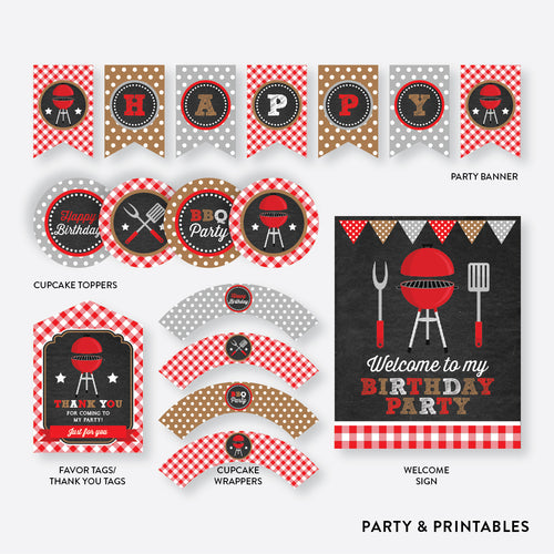 BBQ Chalkboard Standard Kids Birthday Party Package / Non-Personalized / Instant Download (CKB.75))