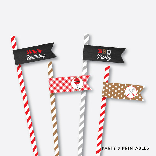 BBQ Chalkboard Straw Flags / Non-Personalized / Instant Download (CKB.75), party printables - Party and Printables