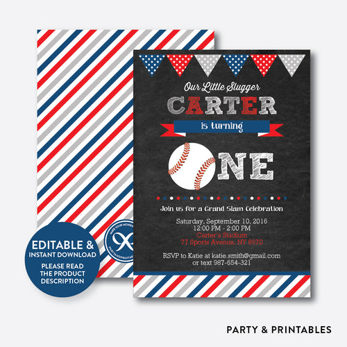 Baseball Chalkboard 1st Birthday Invitation / Editable / Instant Download (CKB.76B)