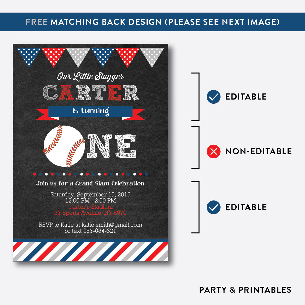 Baseball Chalkboard 1st Birthday Invitation / Editable / Instant Download (CKB.76B), invitation - Party and Printables