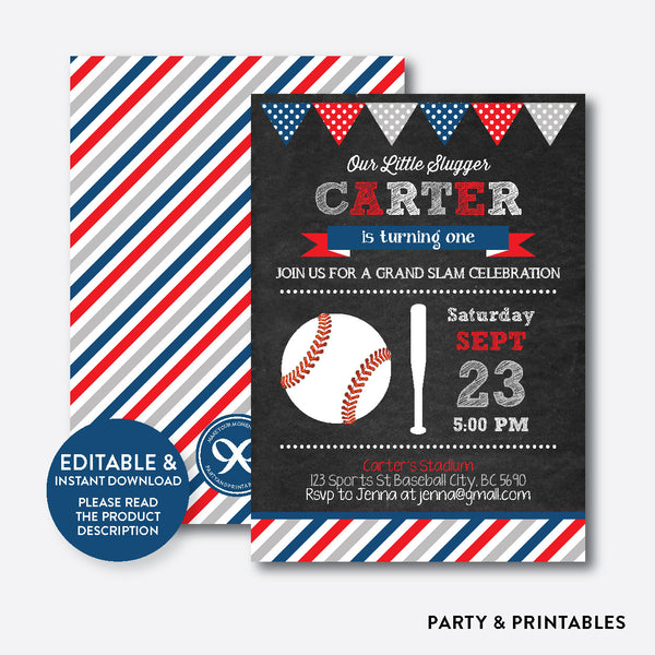 Baseball Chalkboard Kids Birthday Invitation / Editable / Instant Download (CKB.76C), invitation - Party and Printables