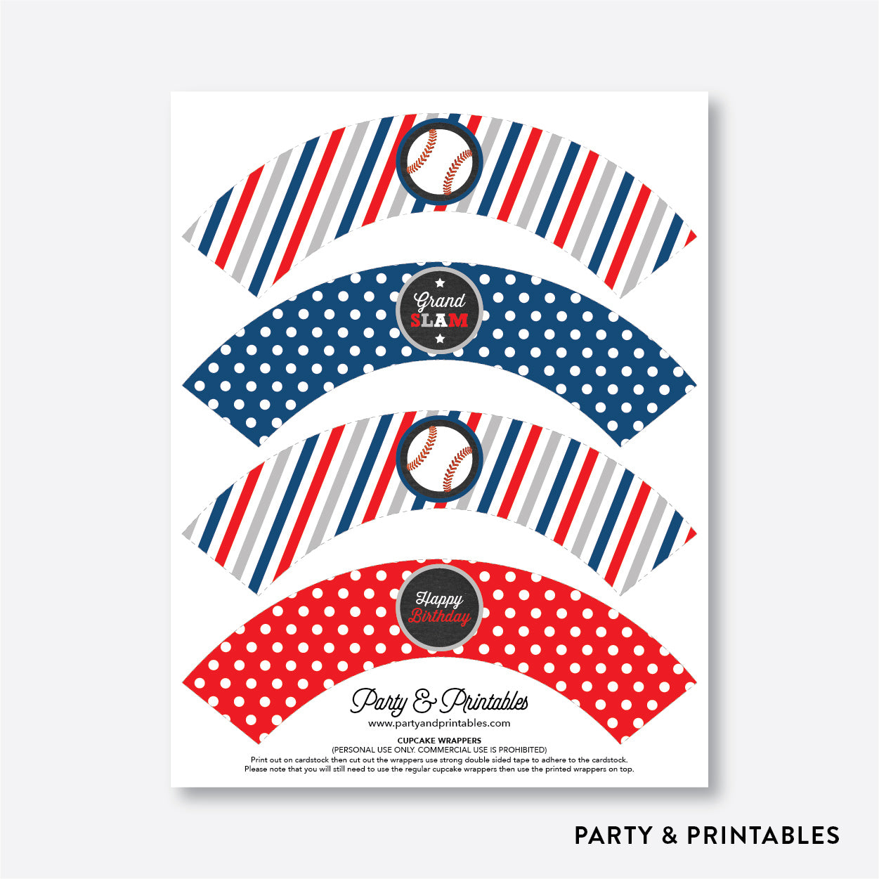 Baseball Chalkboard Cupcake Wrappers / Non-Personalized / Instant Download (CKB.76), party printables - Party and Printables