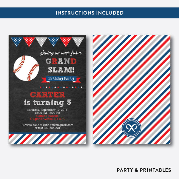 Baseball Chalkboard Kids Birthday Invitation / Editable / Instant Download (CKB.76), invitation - Party and Printables