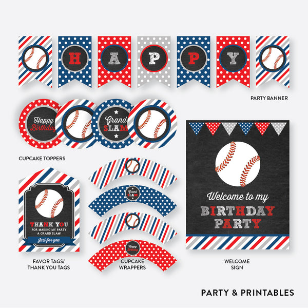 Baseball Chalkboard Standard Kids Birthday Party Package / Non-Personalized / Instant Download (CKB.76), party package - Party and Printables