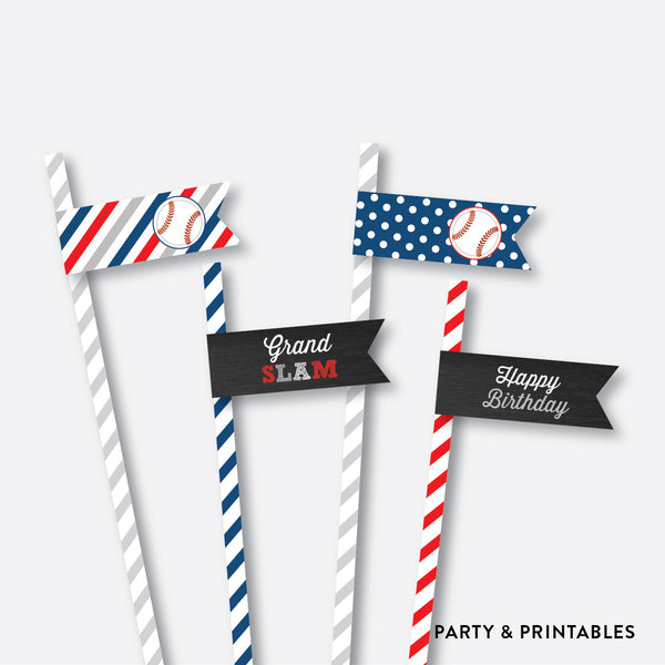 Baseball Chalkboard Straw Flags / Non-Personalized / Instant Download (CKB.76), party printables - Party and Printables