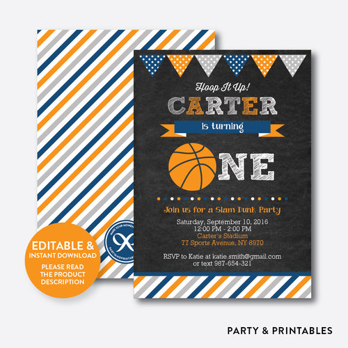 Basketball Chalkboard 1st Birthday Invitation / Editable / Instant Download (CKB.77B)