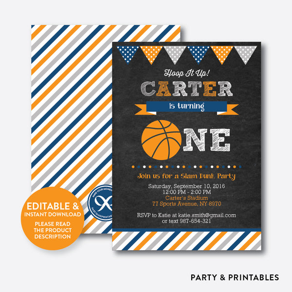 Basketball Chalkboard 1st Birthday Invitation / Editable / Instant Download (CKB.77B), invitation - Party and Printables