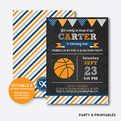 Basketball Chalkboard Kids Birthday Invitation / Editable / Instant Download (CKB.77C)
