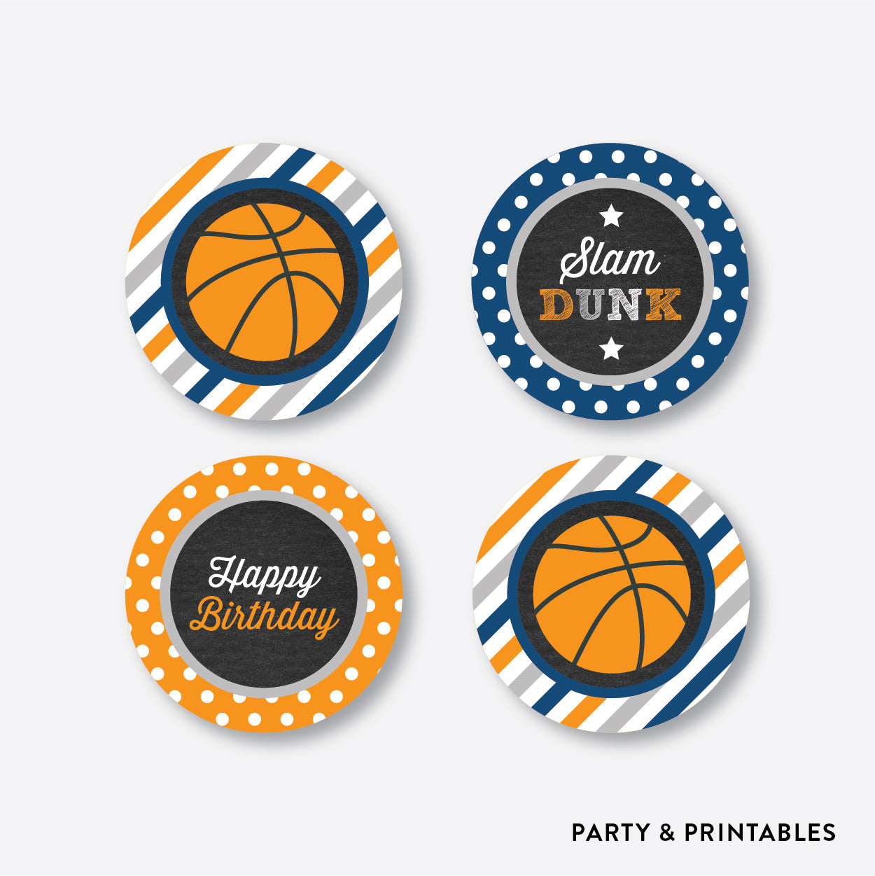 Basketball Chalkboard Cupcake Toppers / Non-Personalized / Instant Download (CKB.77)