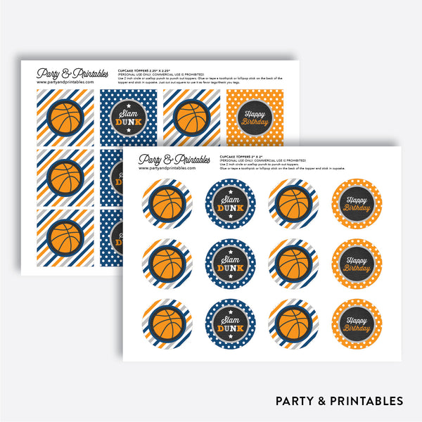 Basketball Chalkboard Cupcake Toppers / Non-Personalized / Instant Download (CKB.77), party printables - Party and Printables