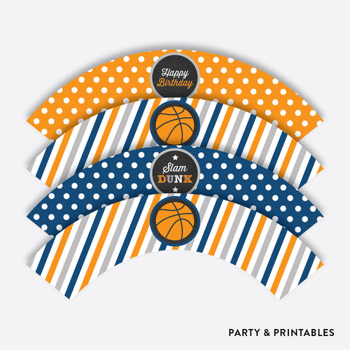 Basketball Chalkboard Cupcake Wrappers / Non-Personalized / Instant Download (CKB.77)