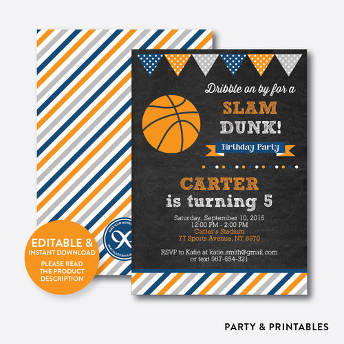Basketball Chalkboard Kids Birthday Invitation / Editable / Instant Download (CKB.77)