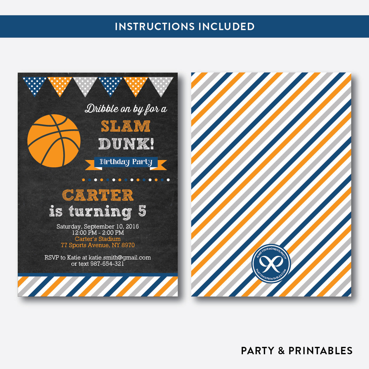 Basketball Chalkboard Kids Birthday Invitation / Editable / Instant Download (CKB.77), invitation - Party and Printables