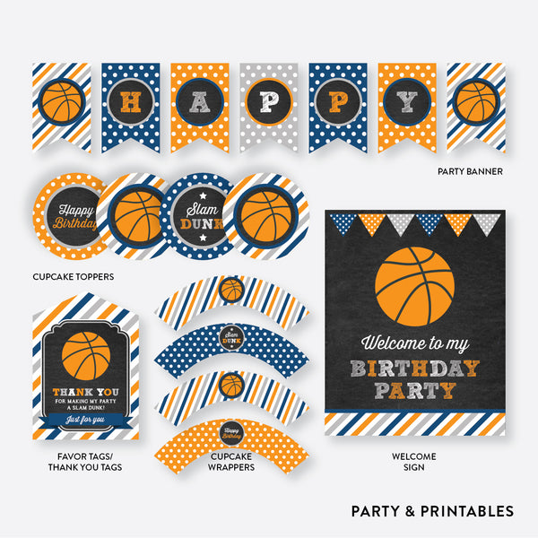 Basketball Chalkboard Standard Kids Birthday Party Package / Non-Personalized / Instant Download (CKB.77)