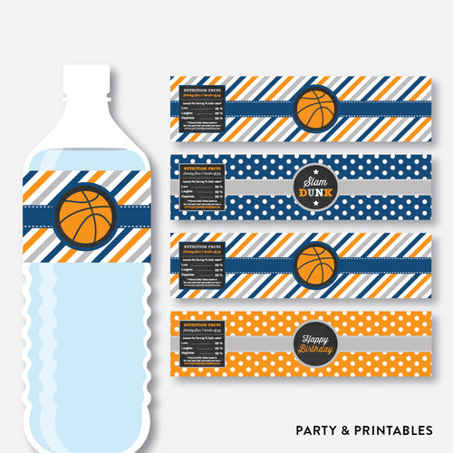 Basketball Chalkboard Water Bottle Labels / Non-Personalized / Instant Download (CKB.77)
