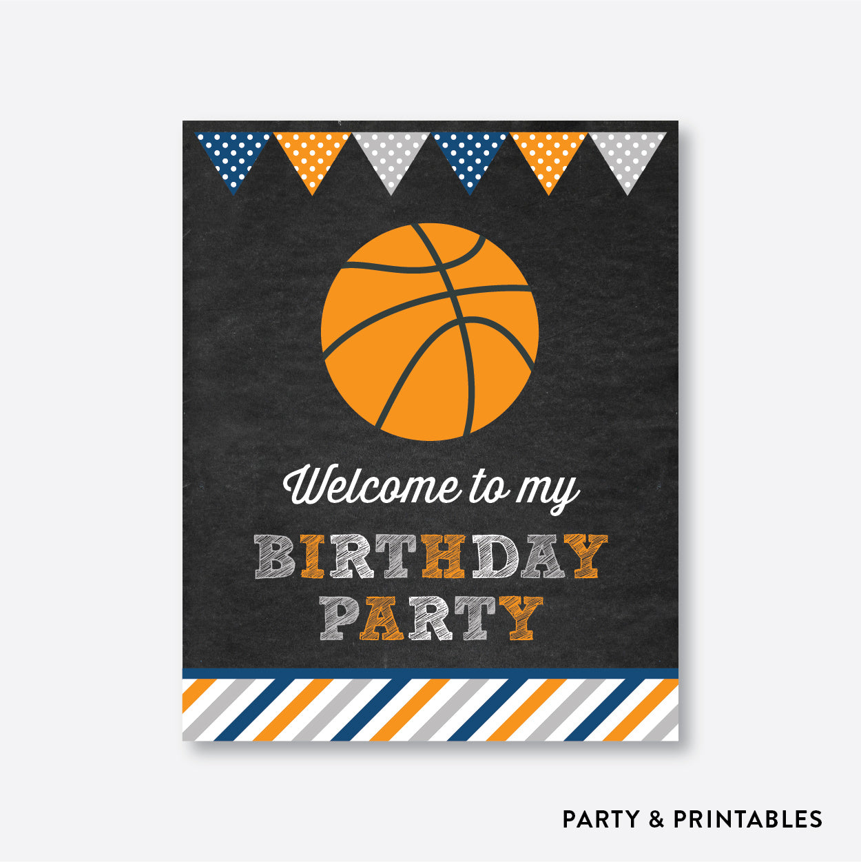 Basketball Chalkboard Welcome Sign / Non-Personalized / Instant Download (CKB.77), party printables - Party and Printables