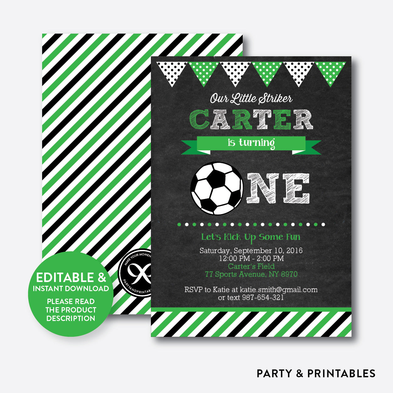 Soccer Chalkboard 1st Birthday Invitation / Editable / Instant Download (CKB.78B), invitation - Party and Printables