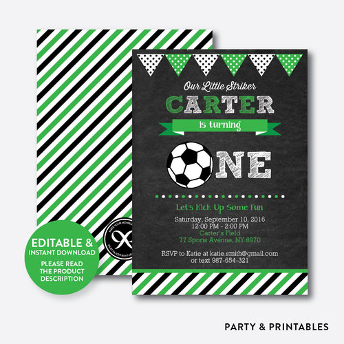 Soccer Chalkboard 1st Birthday Invitation / Editable / Instant Download (CKB.78B)