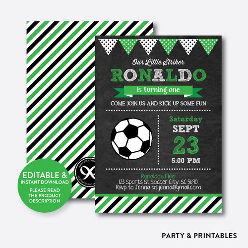 Soccer Chalkboard Kids Birthday Invitation / Editable / Instant Download (CKB.78C)