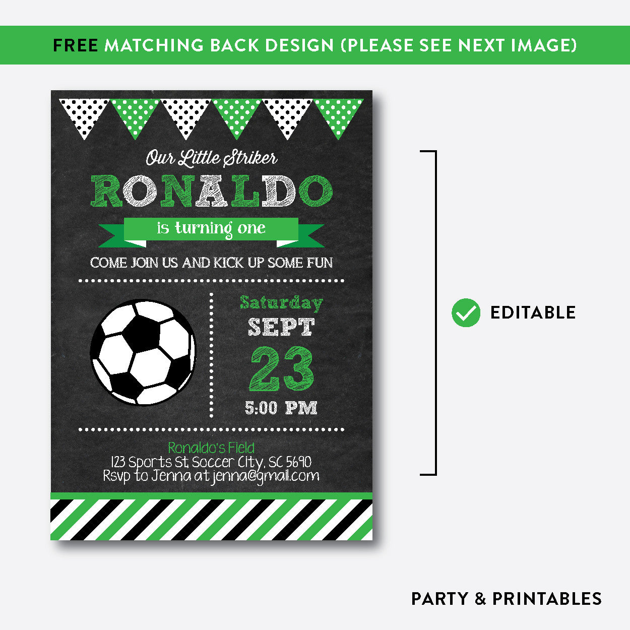 Soccer Chalkboard Kids Birthday Invitation / Editable / Instant Download (CKB.78C), invitation - Party and Printables