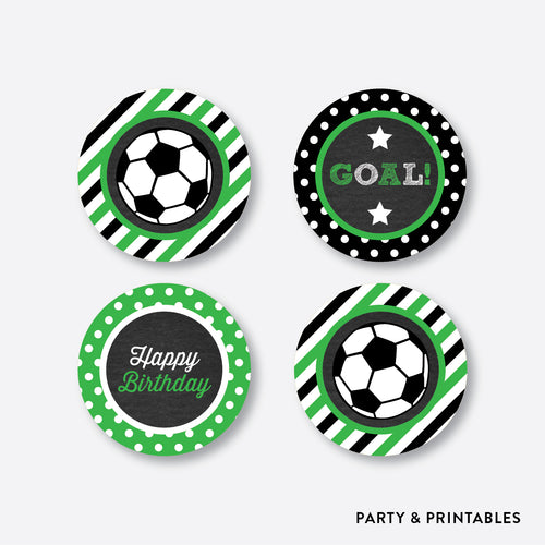 Soccer Chalkboard Cupcake Toppers / Non-Personalized / Instant Download (CKB.78)
