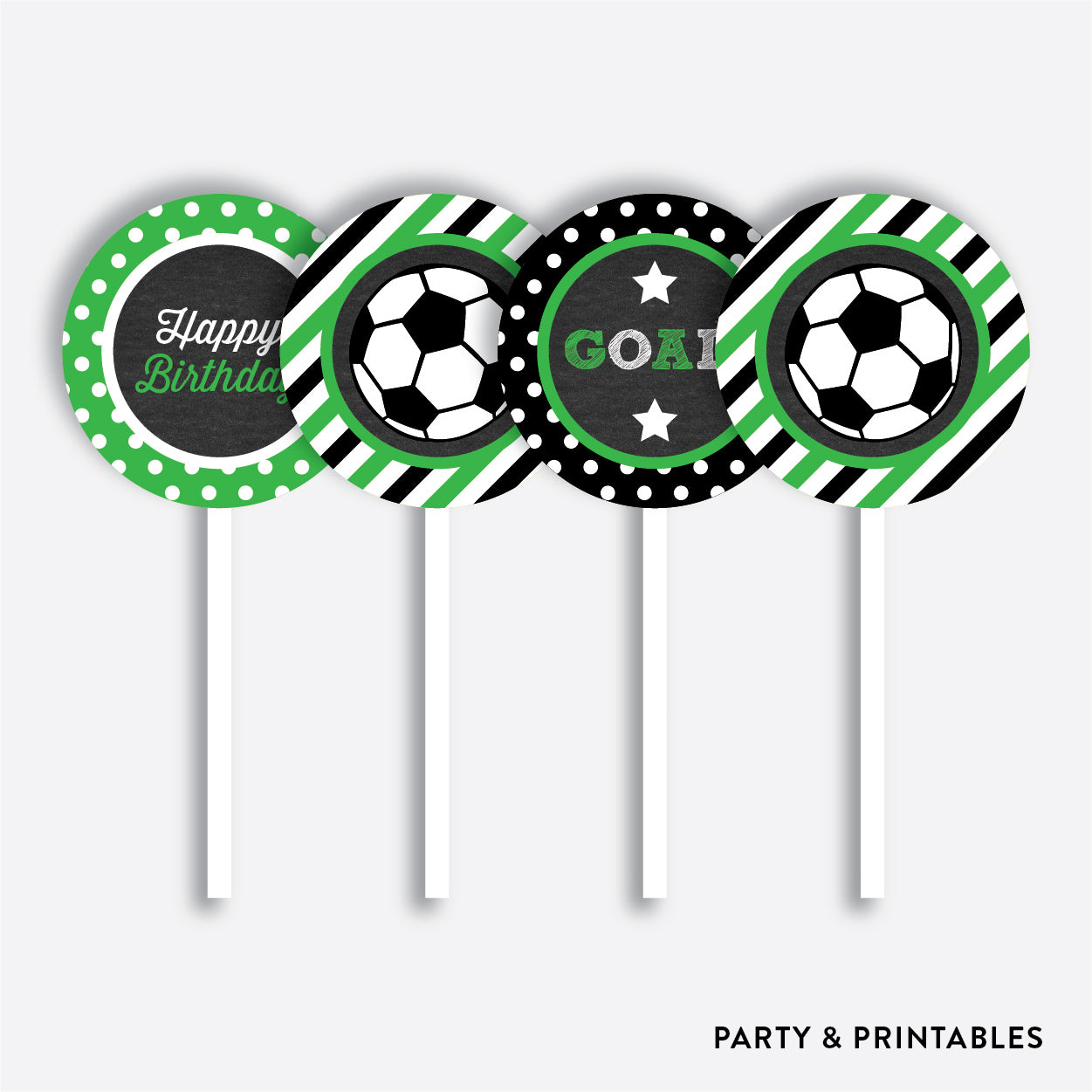 Soccer Chalkboard Cupcake Toppers / Non-Personalized / Instant Download (CKB.78), party printables - Party and Printables