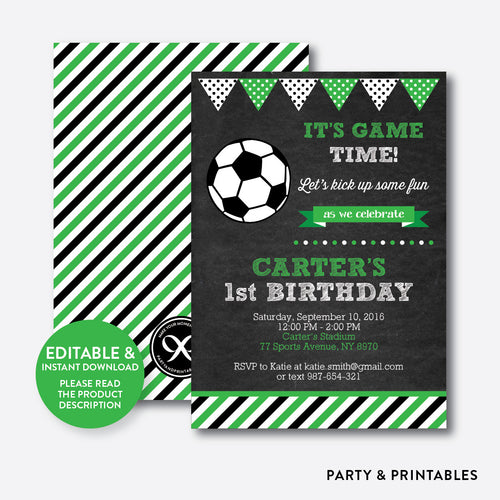 Soccer Chalkboard Kids Birthday Invitation / Editable / Instant Download (CKB.78)