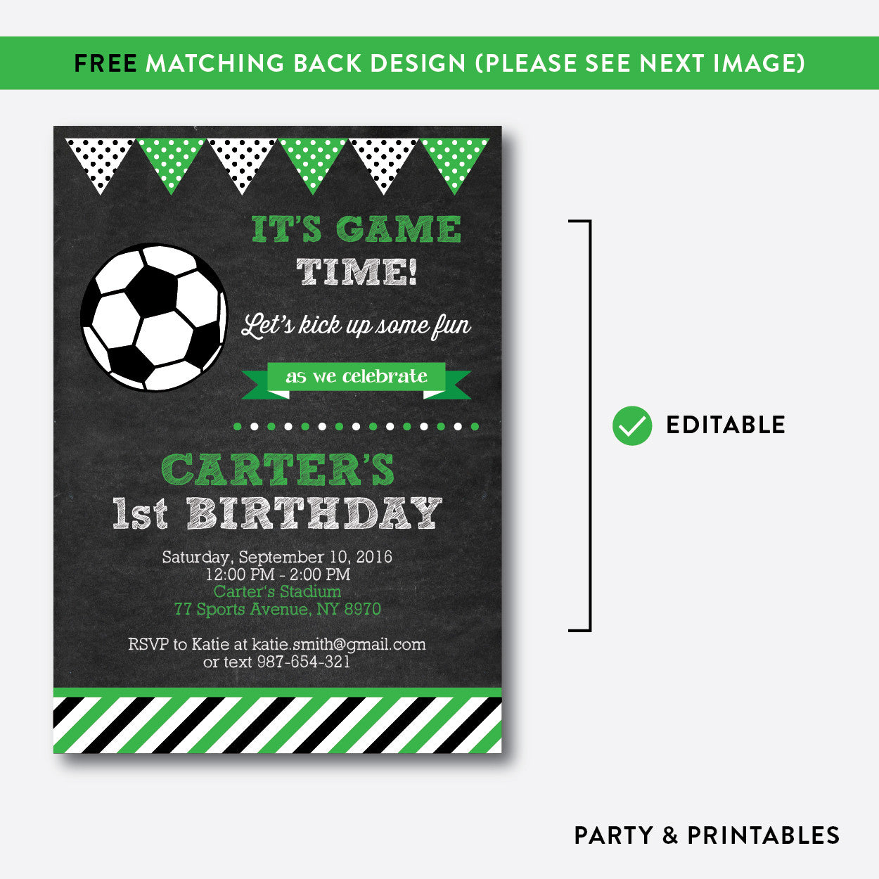Soccer Chalkboard Kids Birthday Invitation / Editable / Instant Download (CKB.78), invitation - Party and Printables
