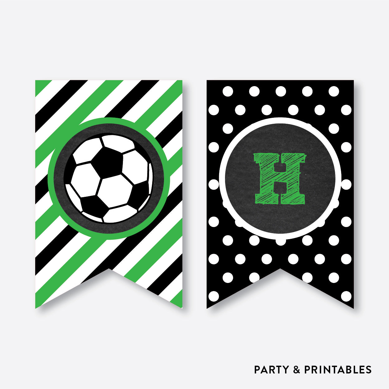 Soccer Chalkboard Party Banner Happy Birthday Non Personalized Instant Download CKB78