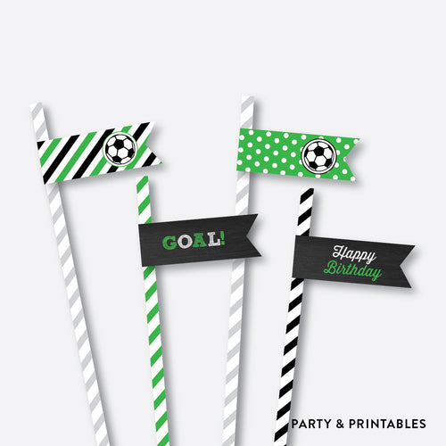 Soccer Chalkboard Straw Flags / Non-Personalized / Instant Download (CKB.78)