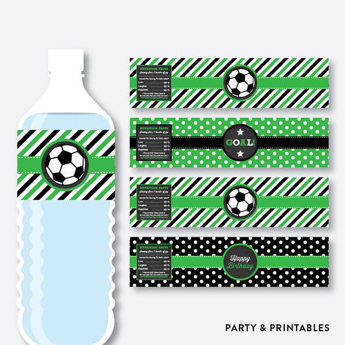 Soccer Chalkboard Water Bottle Labels / Non-Personalized / Instant Download (CKB.78)