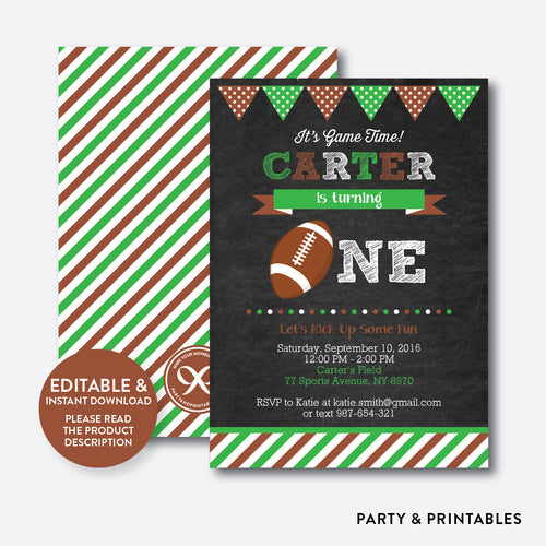 American Football Chalkboard 1st Birthday Invitation / Editable / Instant Download (CKB.79B)