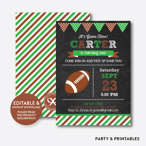 American Football Chalkboard Kids Birthday Invitation / Editable / Instant Download (CKB.79C)
