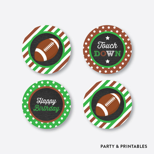 American Football Chalkboard Cupcake Toppers / Non-Personalized / Instant Download (CKB.79)
