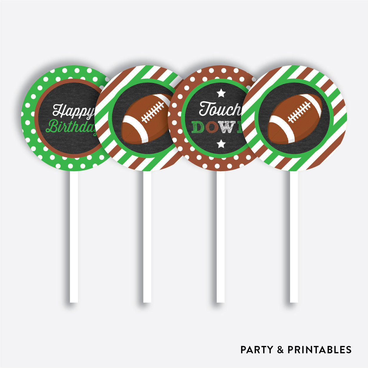 American Football Chalkboard Cupcake Toppers / Non-Personalized / Instant Download (CKB.79), party printables - Party and Printables