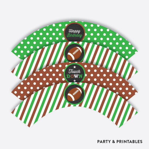 American Football Chalkboard Cupcake Wrappers / Non-Personalized / Instant Download (CKB.79)