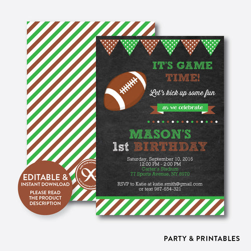 American Football Chalkboard Kids Birthday Invitation / Editable / Instant Download (CKB.79)
