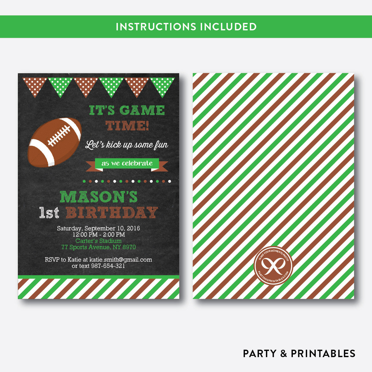 American Football Chalkboard Kids Birthday Invitation / Editable / Instant Download (CKB.79), invitation - Party and Printables