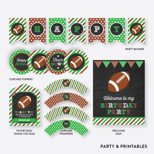 American Football Chalkboard Standard Kids Birthday Party Package / Non-Personalized / Instant Download (CKB.79)