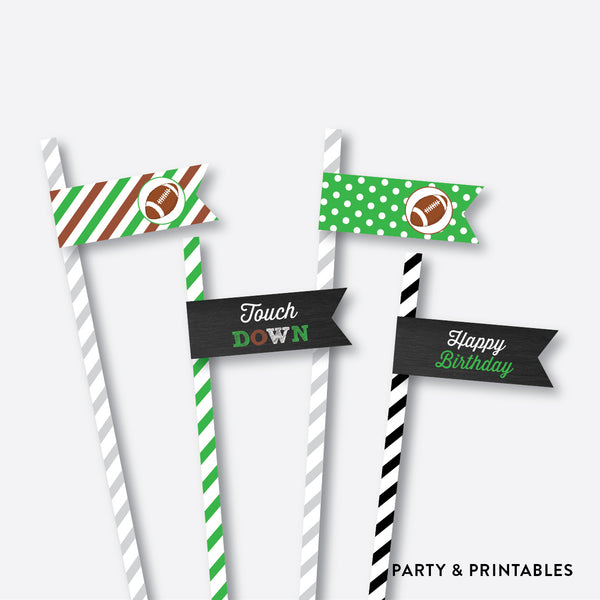 American Football Chalkboard Straw Flags / Non-Personalized / Instant Download (CKB.79), party printables - Party and Printables