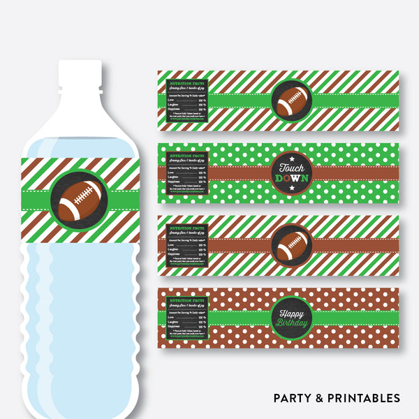American Football Chalkboard Water Bottle Labels / Non-Personalized / Instant Download (CKB.79), party printables - Party and Printables