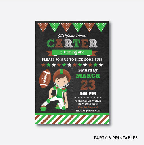 American Football Player Chalkboard Kids Birthday Invitation / Personalized (CKB.80)