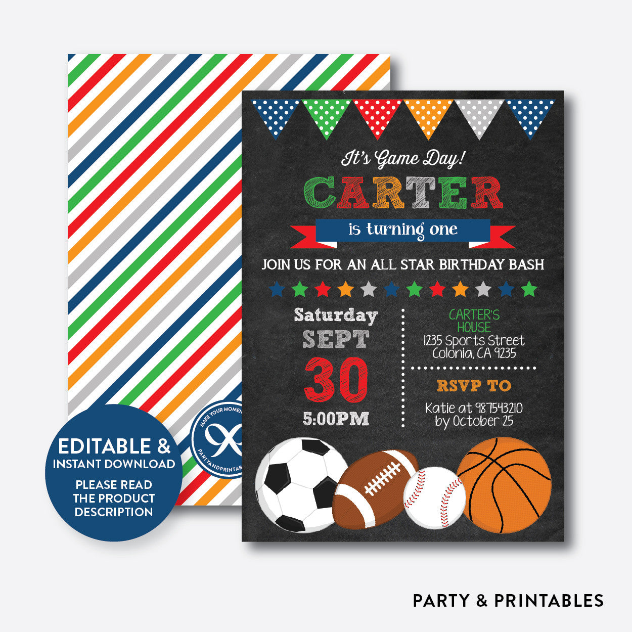 All Star Chalkboard Kids Birthday Invitation / Editable / Instant Download (CKB.81B), invitation - Party and Printables