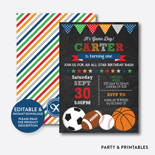 All Star Chalkboard Kids Birthday Invitation / Editable / Instant Download (CKB.81B)
