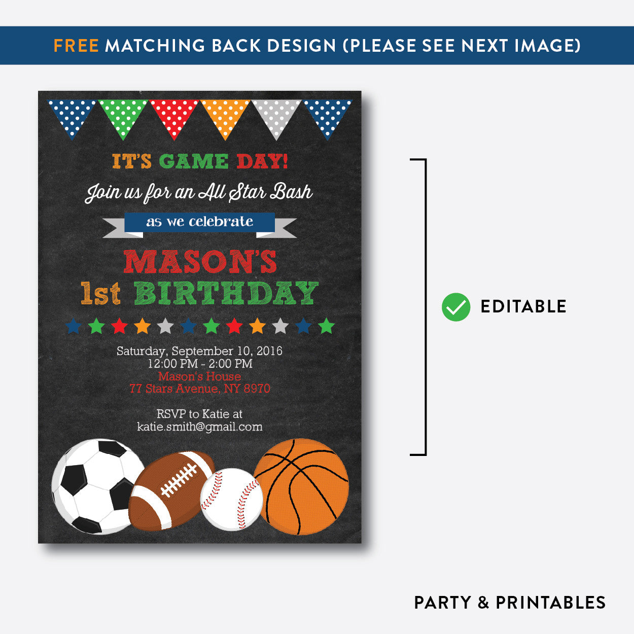 All Star Chalkboard Kids Birthday Invitation / Editable / Instant Download (CKB.81), invitation - Party and Printables
