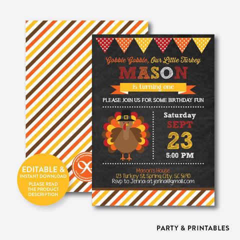 Turkey Boy Chalkboard Kids Birthday Invitation / Editable / Instant Download (CKB.82)