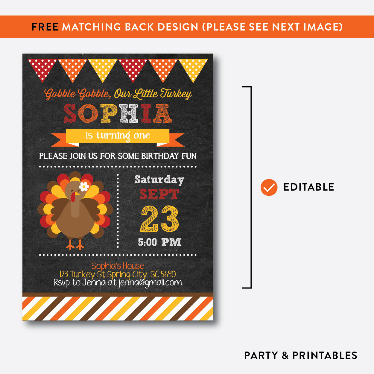 Turkey Chalkboard Kids Birthday Invitation / Editable / Instant Download (CKB.83), invitation - Party and Printables