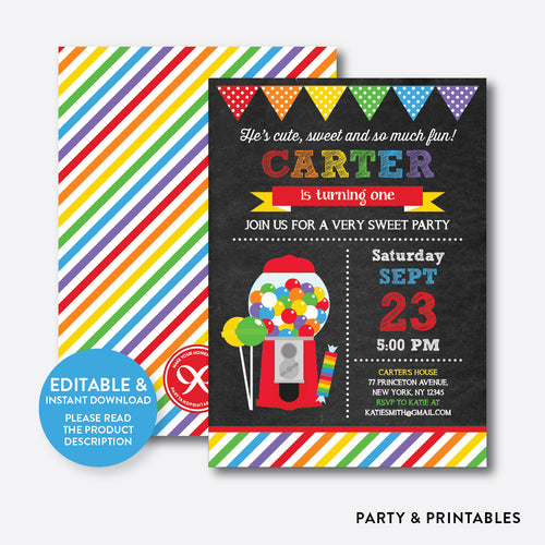 Sweet Shoppe Red Chalkboard Kids Birthday Invitation / Editable / Instant Download (CKB.84B)
