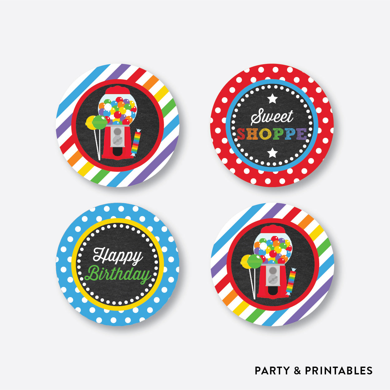 Sweet Shoppe Chalkboard Cupcake Toppers / Non-Personalized / Instant Download (CKB.84), party printables - Party and Printables