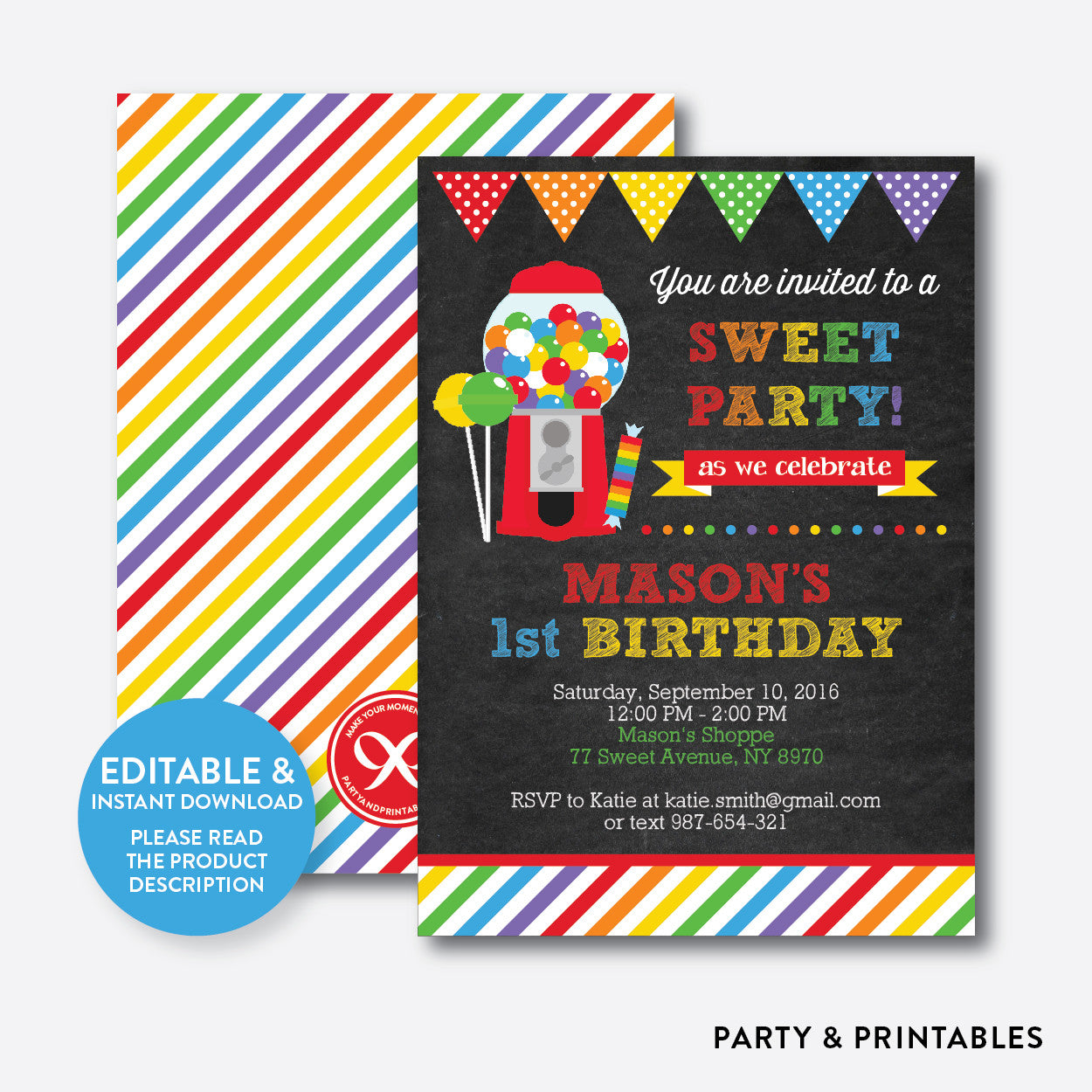 Sweet Shoppe Red Chalkboard Kids Birthday Invitation / Editable / Instant Download (CKB.84)